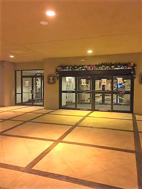Decorative concrete floors in a commercial building