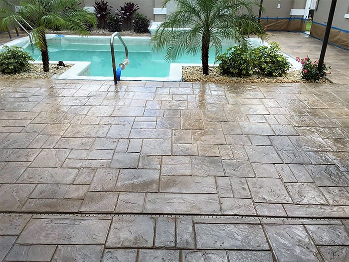 Marvellous stamped concrete pool deck photos best for Pool design tampa florida